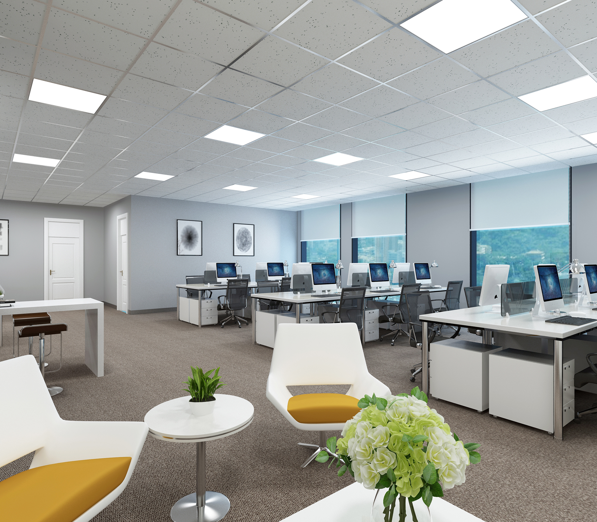 Modern well-lit office interior